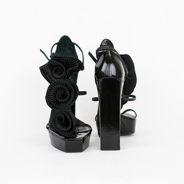 Viktor & Rolf black leather chunky high heels with silk flowers