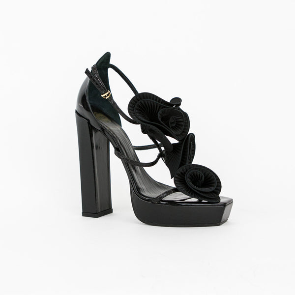 Viktor & Rolf black leather high heels with silk flowers