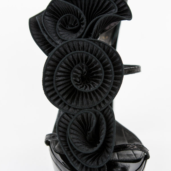 Viktor & Rolf black leather high heels with three silk flowers