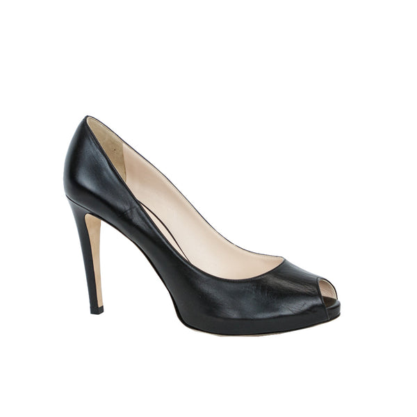 Giorgio Armani | Black Leather Peep Toe High Heels