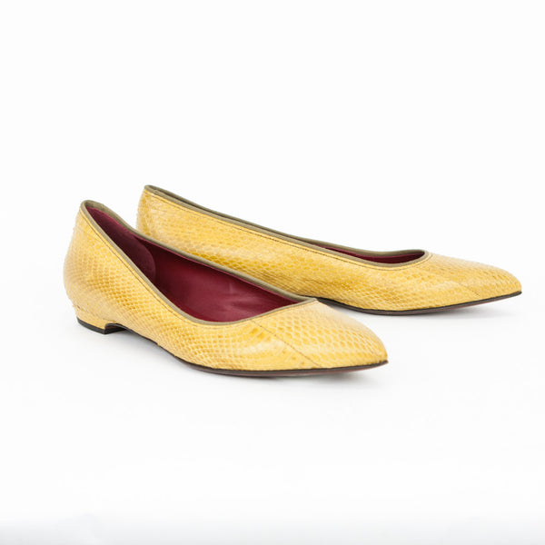 Lanvin mustard snakeskin pointed toe flats with olive trim, leather soles and red insoles.