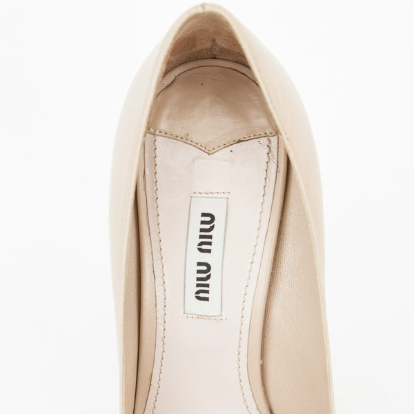 Miu Miu | Beige Leather Platform Pumps With Leather Insoles