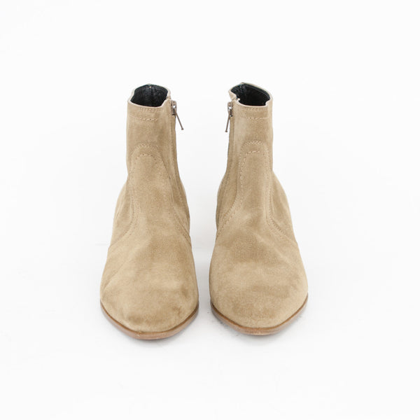 Saint Laurent beige suede Chelsea booties pointed toes