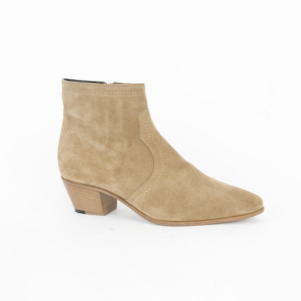 Saint Laurent beige suede Chelsea booties