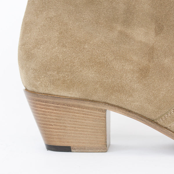 Saint Laurent beige suede Chelsea booties stacked heel