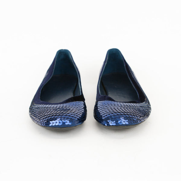 Gucci blue sequin ballerina flats made in Italy