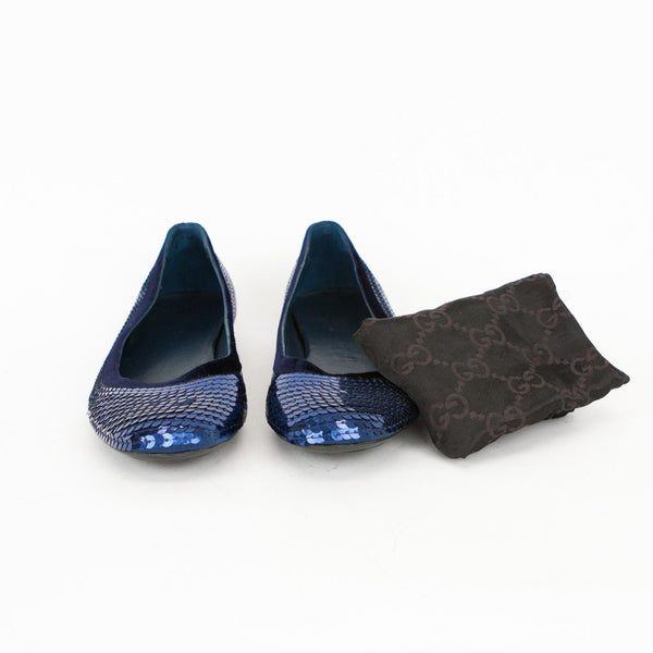 Gucci blue sequin ballerina flats dust bag included