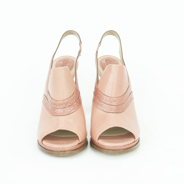 Chloe pink salmon peep-toe slingback leather pumps with a chunky heel and python effect trim.