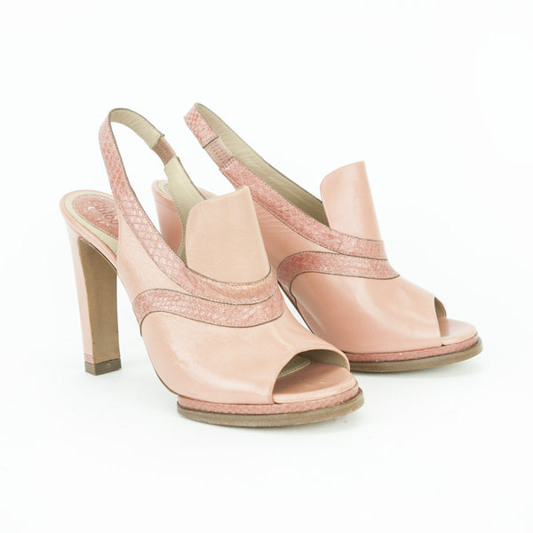 Chloe pink salmon peep-toe slingback leather pumps with a chunky heel and python effect trim with leather soles