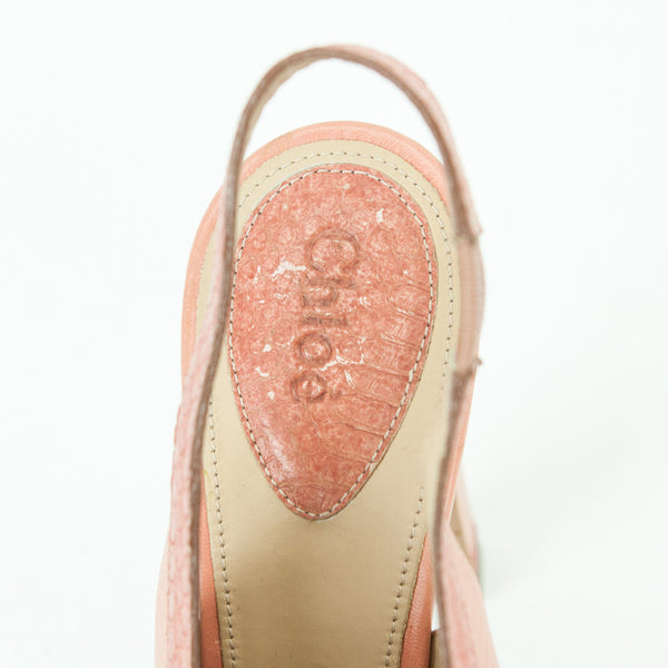 Chloe pink salmon peep-toe slingback leather pumps with a chunky heel and python effect trim.  Size 11