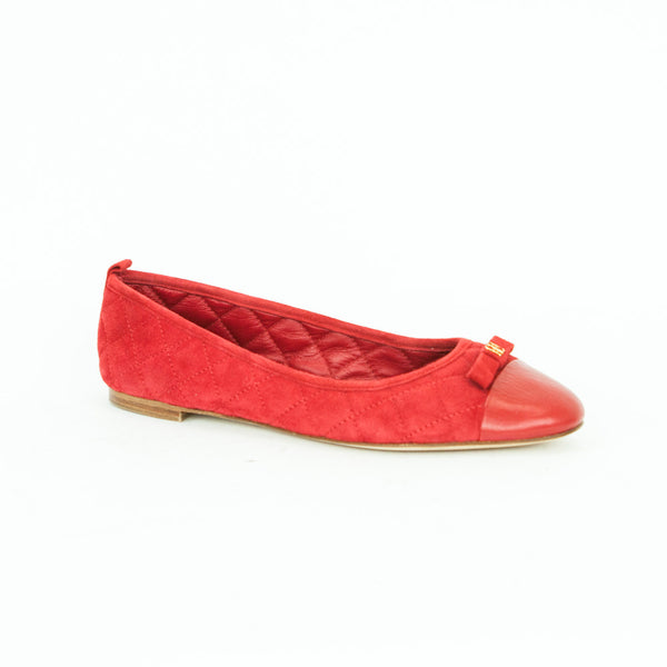 Carolina Herrera red suede quilted stitch flats