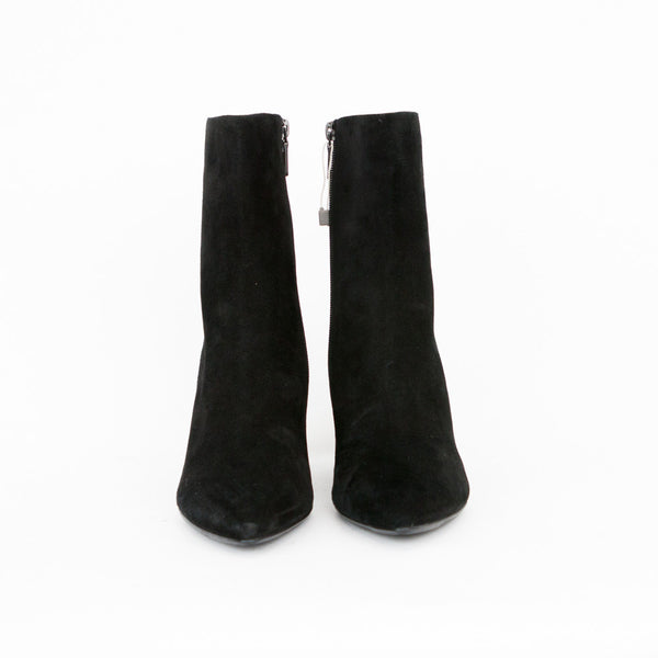 Carlo Pazolini black suede ankle booties with pointed toes, block covered heels, and side zip closure.