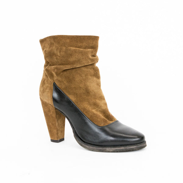 Officine Creative slide on ankle booties with leather toebox and suede upper and heels.