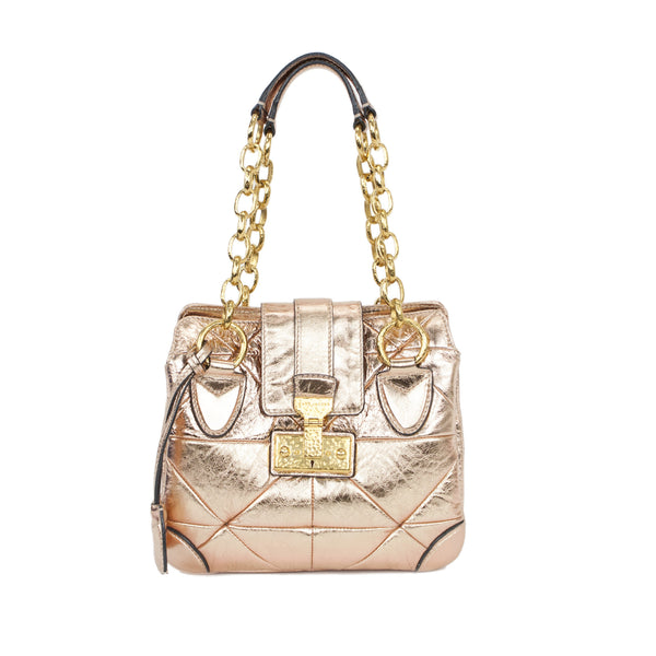 Marc Jacobs metallic blush Mariah bag with three compartments, chainlink shoulder straps, and flap over snap lock closure.