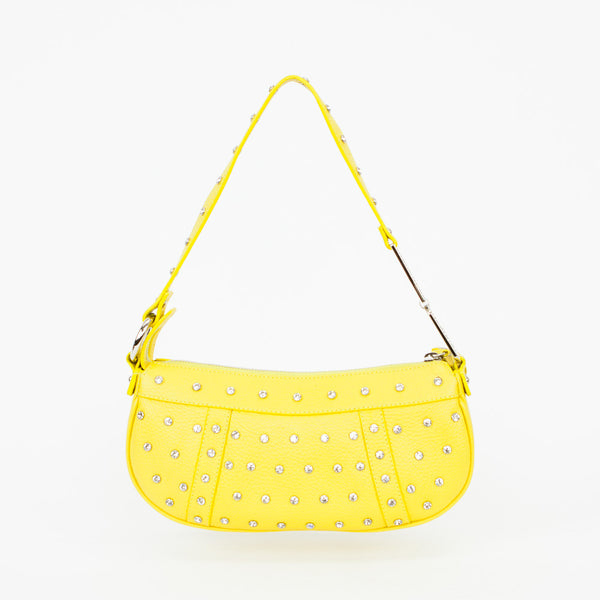 Dolce Gabbana banana yellow leather baguette with clear rhinestone studs and logo rhinestone handle.