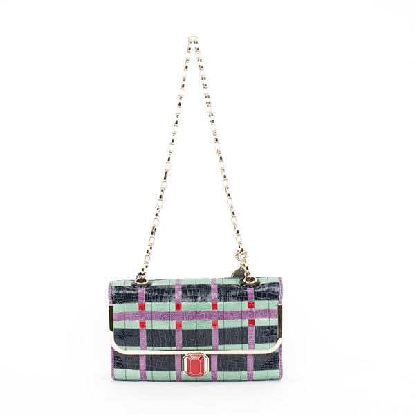 Large Lanvin Bergamote crocodile embossed multi-colored shoulder bag with a flap closure with red jewel lock clasp and a gold-tone shoulder strap. 2009 Collection