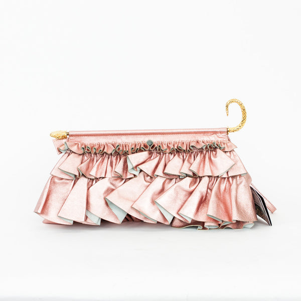 Roberto Cavalli metallic blush pink ruffled clutch with wrist strap and goldtone hardware.