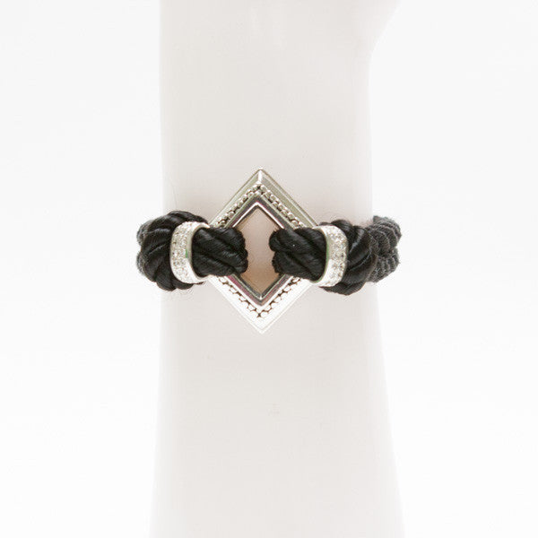Michael Dawkins Sterling Bracelet With Diamond Center And Double Cord