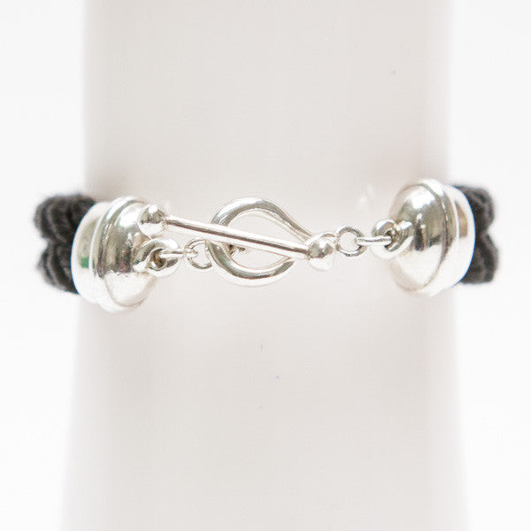Michael Dawkins Sterling Bracelet With Diamond Center And Toggle Clasp