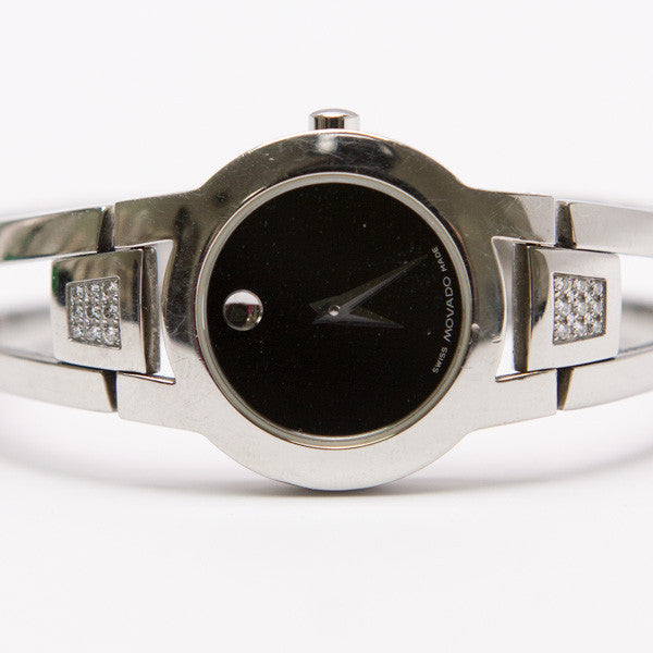Movado Amorosa Stainless Steel Bangle Watch With Signature Dot at 12 o'clock