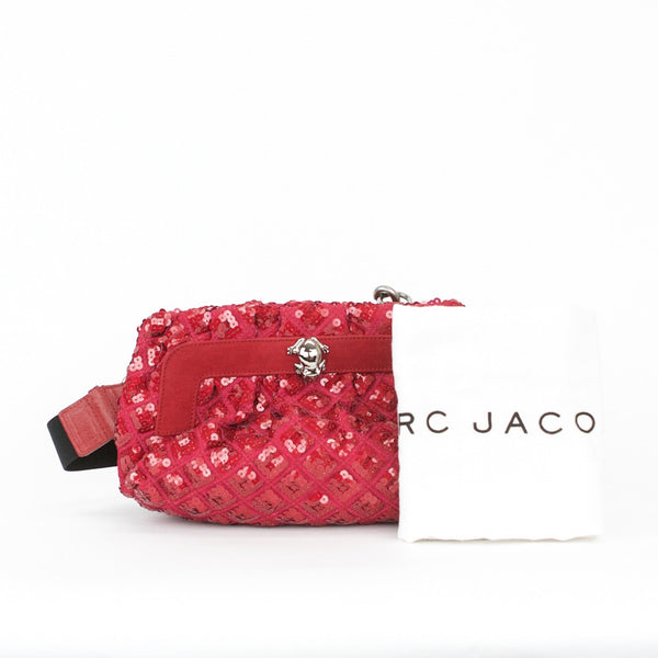 Marc Jacobs Catherine raspberry and red sequined crossbody frame bag with detachable shoulder strap and suede trim with frog accessory on front.