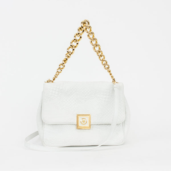 Versace | White Leather Barocco Embroidered Bag