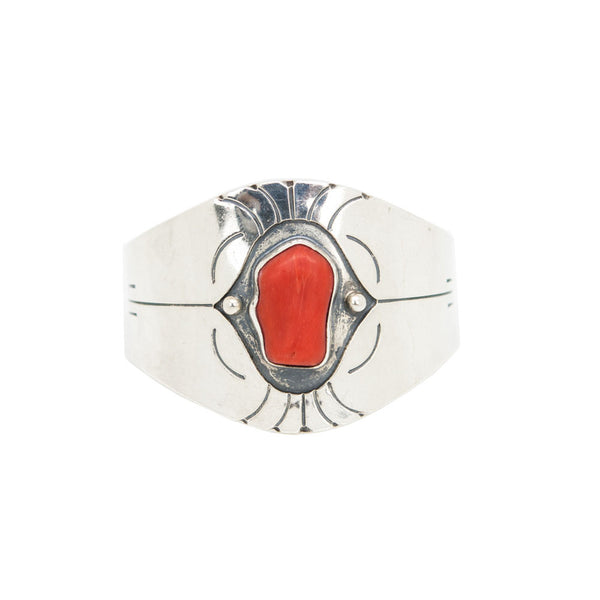 Native American Silver Cuff With Red Coral