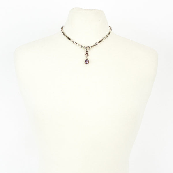 Beth Orduna silver necklace with purple pearl drop