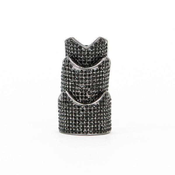 Eddie Borgo gunmetal hinge ring with crystals
