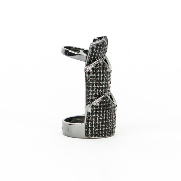 Eddie Borgo gunmetal hinge ring with crystals size 7