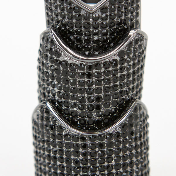 Eddie Borgo gunmetal hinge ring with black crystals