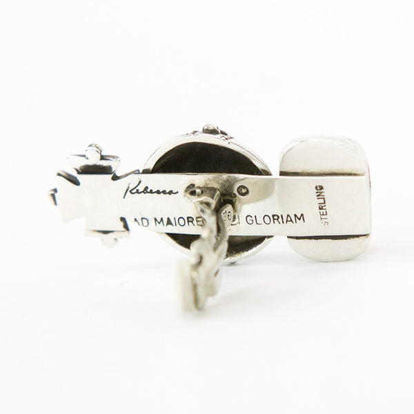 Rebecca Collins globus cruciger clip on earrings stamped with designer name