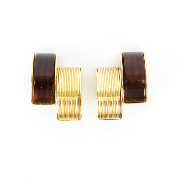 Gucci gold and brown clip on earrings half stacked disc