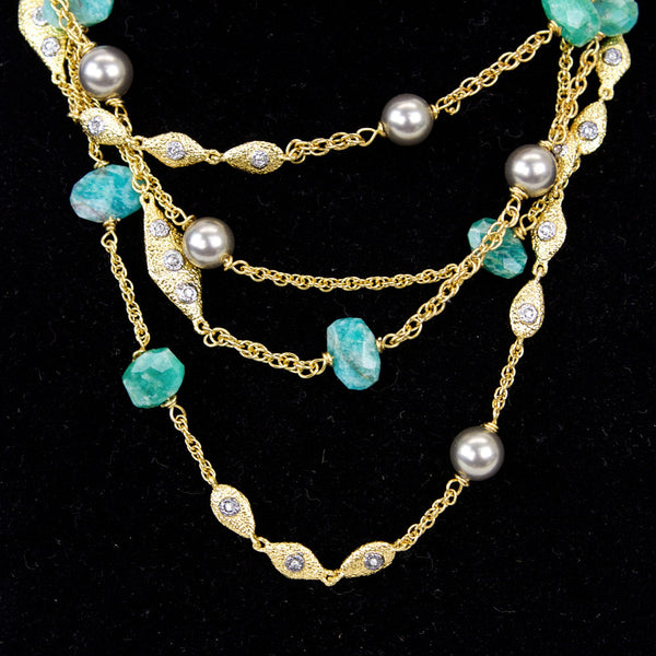 Alexis Bittar amazonite multi-strand necklace with designer disk charm