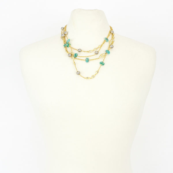 Alexis Bittar amazonite multi-strand necklace
