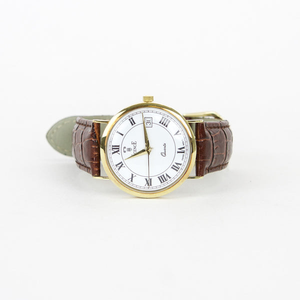 Vicence 14k Gold Brown Milor Watch