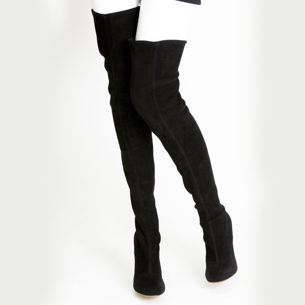Alaia black suede over the knee boots round toe