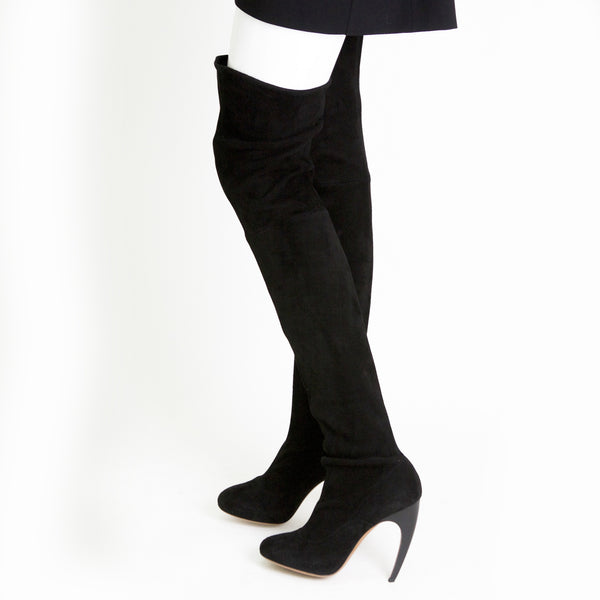 Alaia black suede over the knee boots comma heels