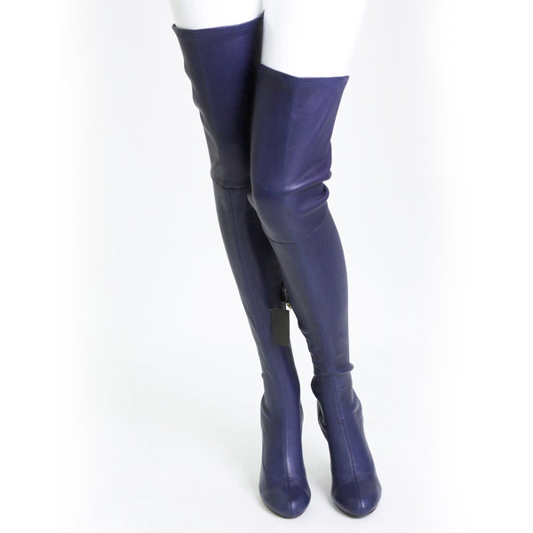 Navy Blue Leather Thigh High Boots