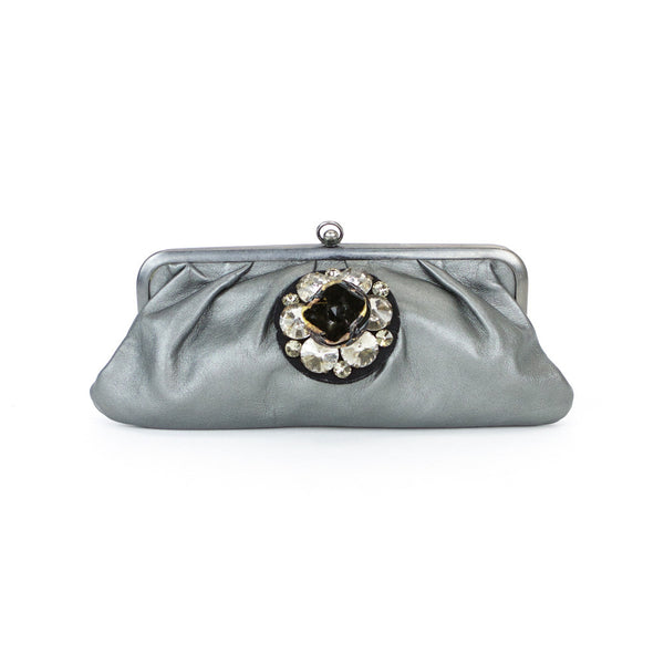 Marni embellished gray leather clutch