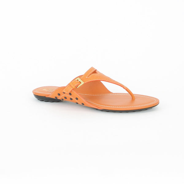 Tods Orange Leather Flat Sandal