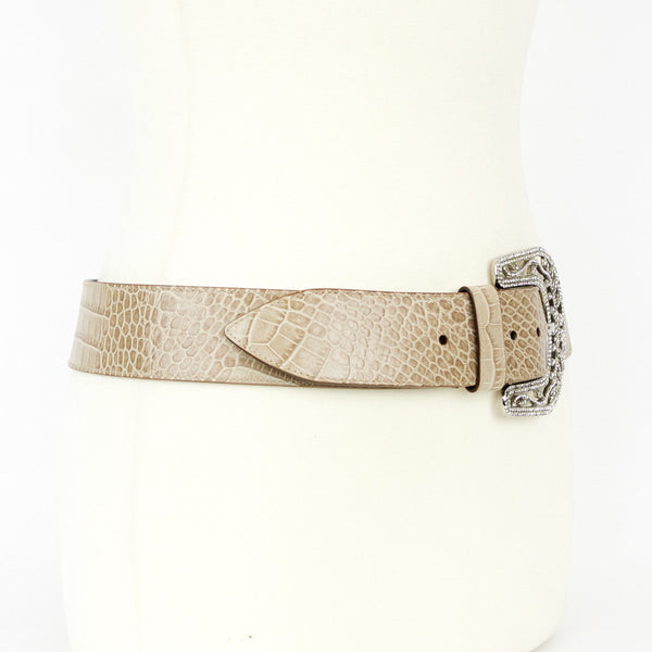 Taupe Leather Rhinestone Buckle Belt