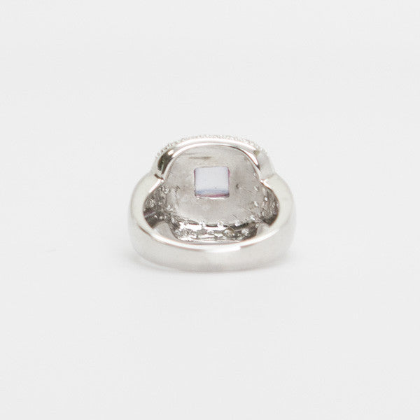 Vintage 14K White Gold Ring With Square Chalcedony Stone