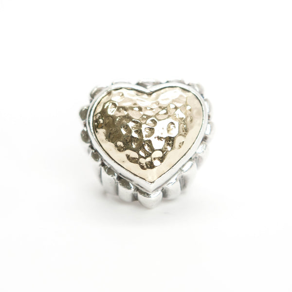 Dian Malouf Gold And Silver Hammered Heart & Fluted Band Ring