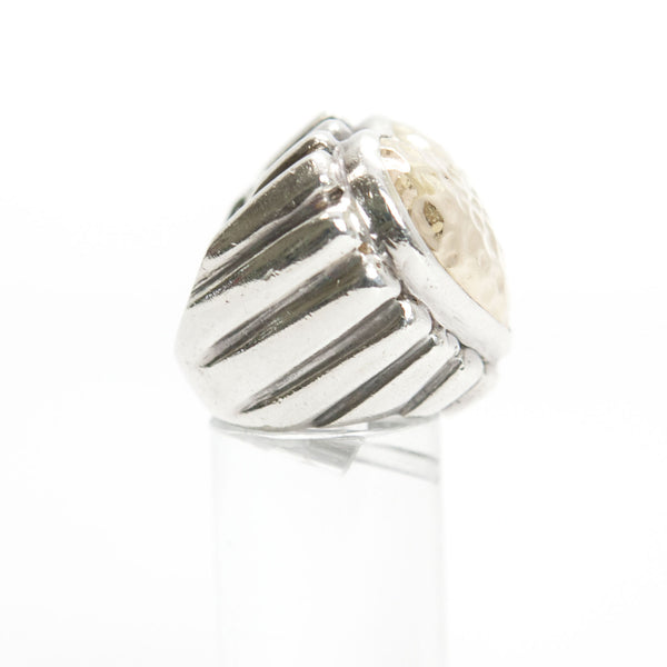 Dian Malouf Gold And Sterling Silver Hammered Heart & Fluted Band Ring