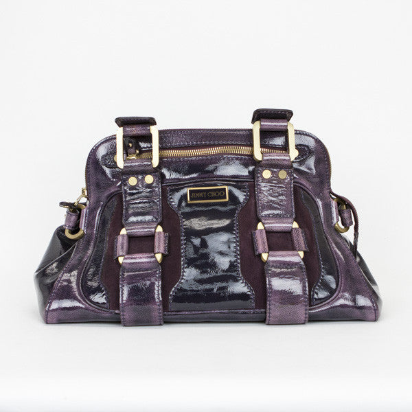Jimmy Choo Eggplant Mahala Satchel Bag