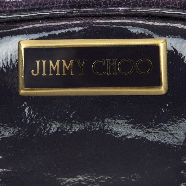 Jimmy Choo Eggplant Mahala Satchel Bag With Gold Name Plate