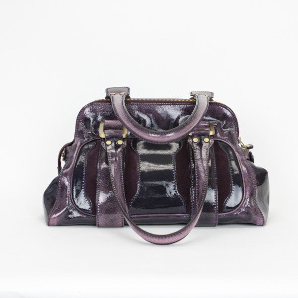 Jimmy Choo Eggplant Mahala Satchel Bag With Dual Handles