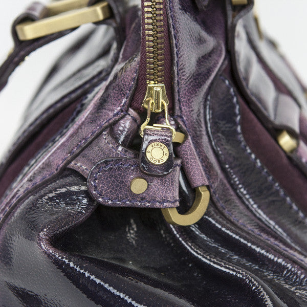 Jimmy Choo Eggplant Mahala Satchel Bag With Engraved Zipper Pulls
