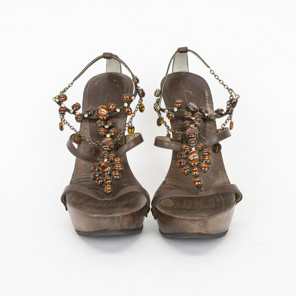 Giuseppe Brown Wooden Heels With Stones